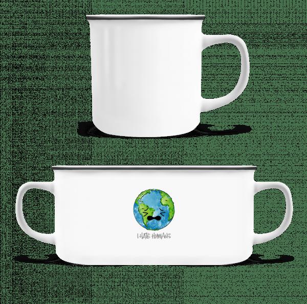 Earth Hates Humans - Emaille-Tasse - Weiß - Vorn