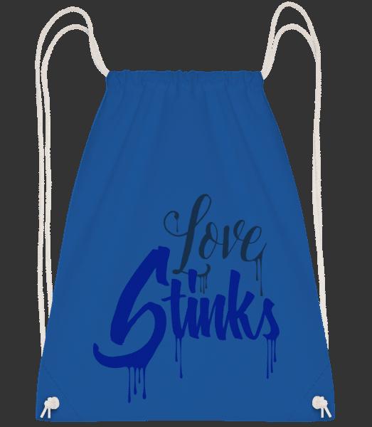 Love Stinks Lettering - Drawstring Backpack - Royal blue - Vorn