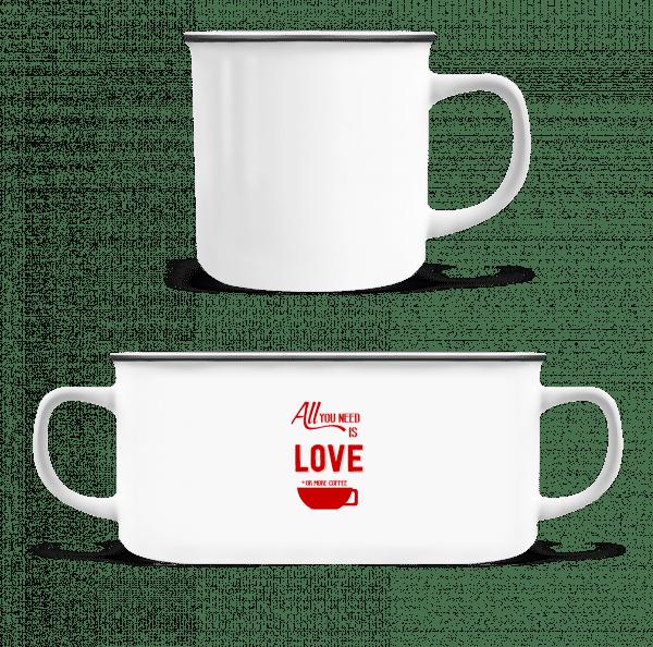 Láska alebo viac Coffee - Smaltovaný hrnček - Biela - Predné