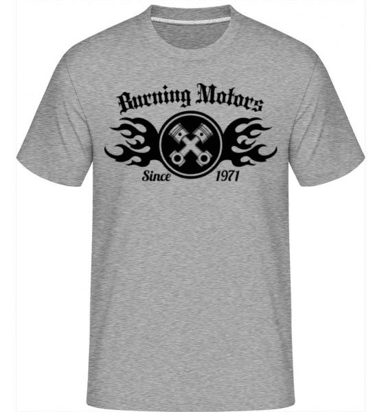 Burning Motors Biker -  Shirtinator Men's T-Shirt - Heather grey - Front