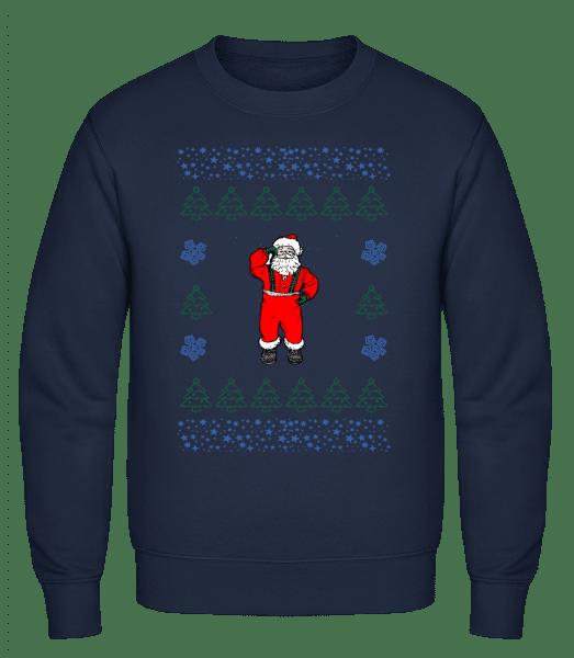 Santa Knitting Pattern - Men's Sweatshirt - Navy - Vorn