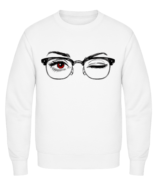 Hipster Eyes Red - Classic Set-In Sweatshirt - White - Vorn