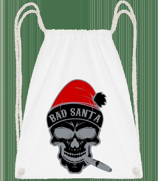 Bad Santa Skull - Drawstring Backpack - White - Vorn