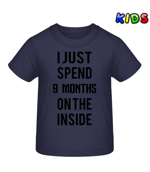 9 Month On The Inside - Baby T-Shirt - Navy - Vorn