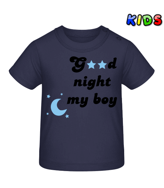 Good Night My Boy - Baby T-Shirt - Navy - Vorn