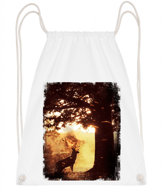 Sun Deer - Drawstring Backpack - White - Vorn