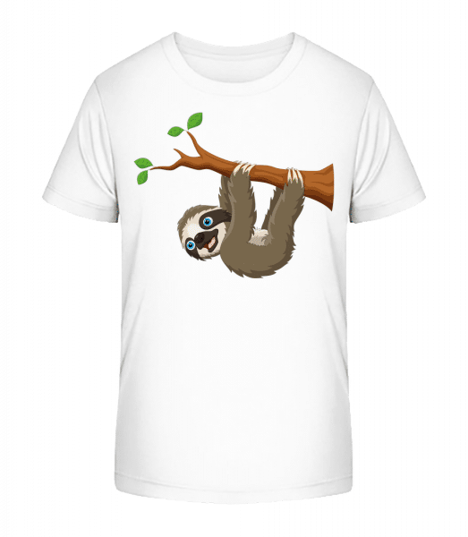 Cute Sloth Hanging On A Branch - Kid's Premium Bio T-Shirt - White - Vorn