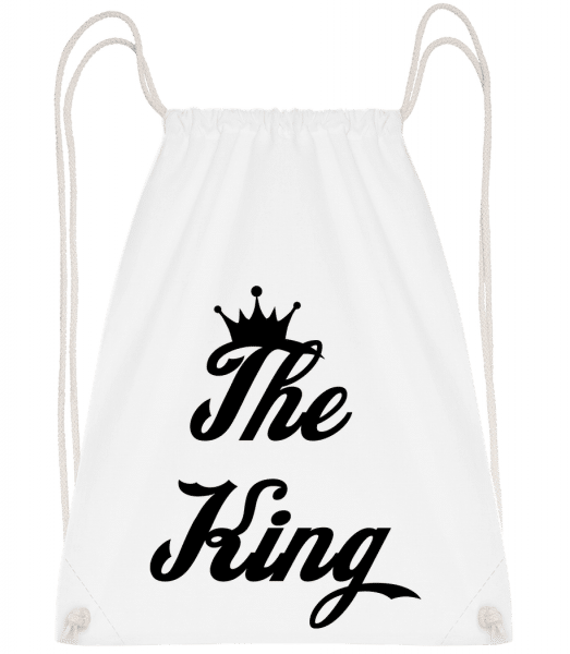 The King - Drawstring Backpack - White - Vorn