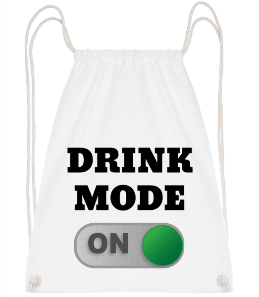 Drink Mode On - Drawstring batoh so šnúrkami - Biela - Predné