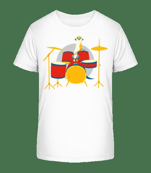 Meerkat Playing Drums - Kid's Premium Bio T-Shirt - White - Vorn