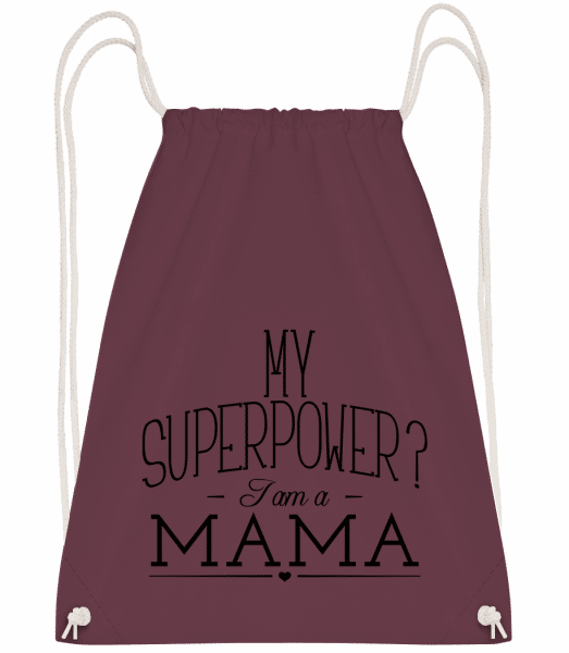 Superpower Mama - Drawstring Backpack - Bordeaux - Vorn