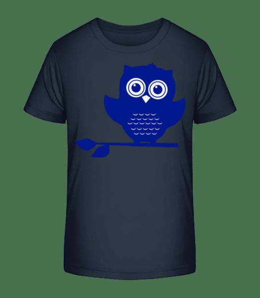 Eule - Kinder Premium Bio T-Shirt - Marine - Vorn