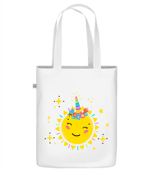 "Happy Sun - Organic ""Earth Positive"" tote bag - White - Front"