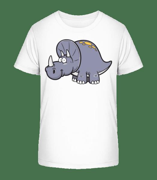 Comic Triceratops - Kid's Premium Bio T-Shirt - White - Vorn