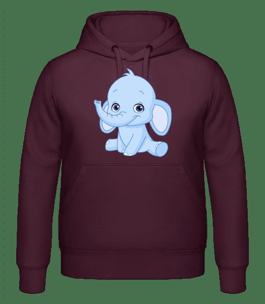 Elefant Comic - Kapuzenhoodie - Bordeaux - Vorn