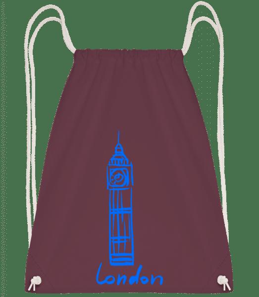 London Tower Sign - Drawstring Backpack - Bordeaux - Vorn