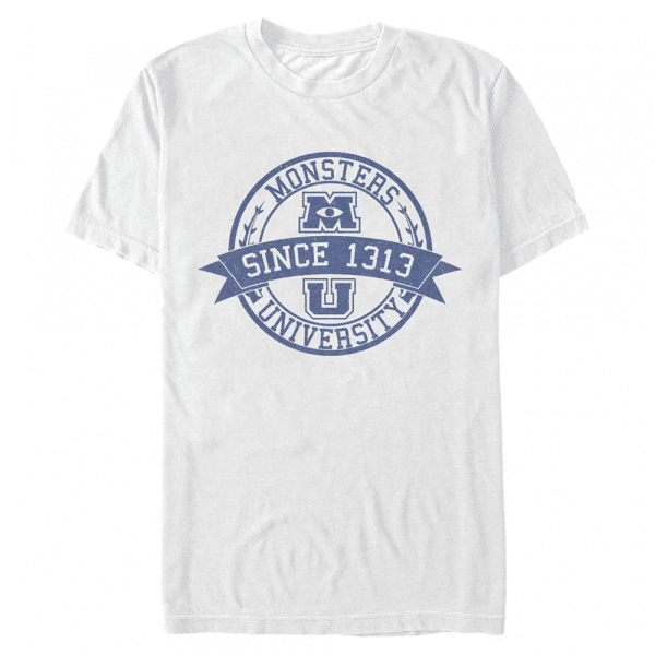 MU Vintage Logo - Pixar Monster's Inc. - Men's T-Shirt - White - Front
