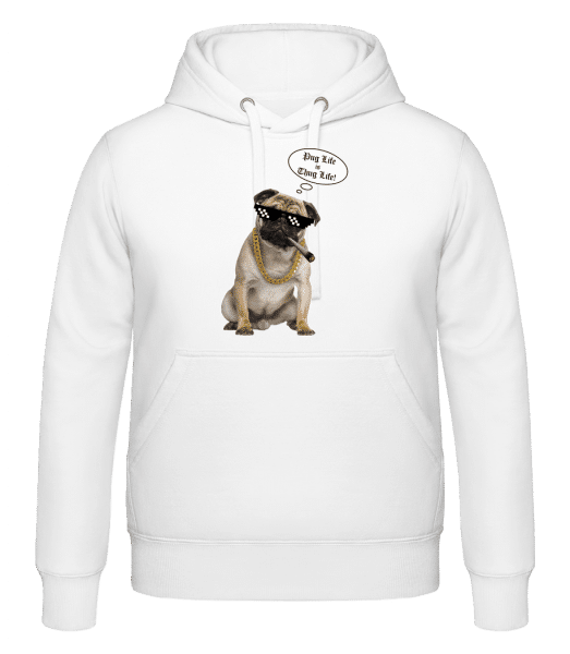 Pug Life Thug Life - Hoodie - White - Vorn