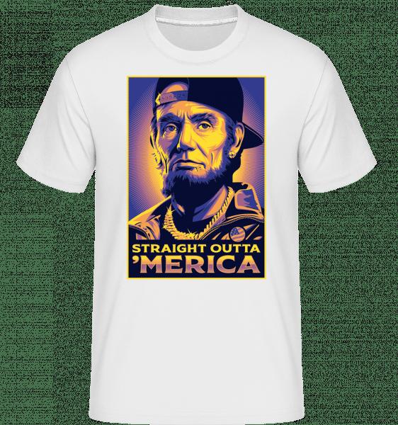 Straight Outta 'Merica -  Shirtinator Men's T-Shirt - White - Front