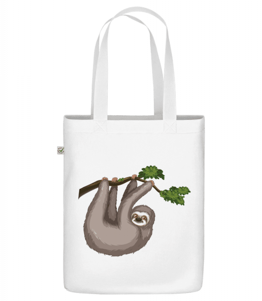 "Sloth Hanging On A Branch - Organic ""Earth Positive"" tote bag - White - Vorn"