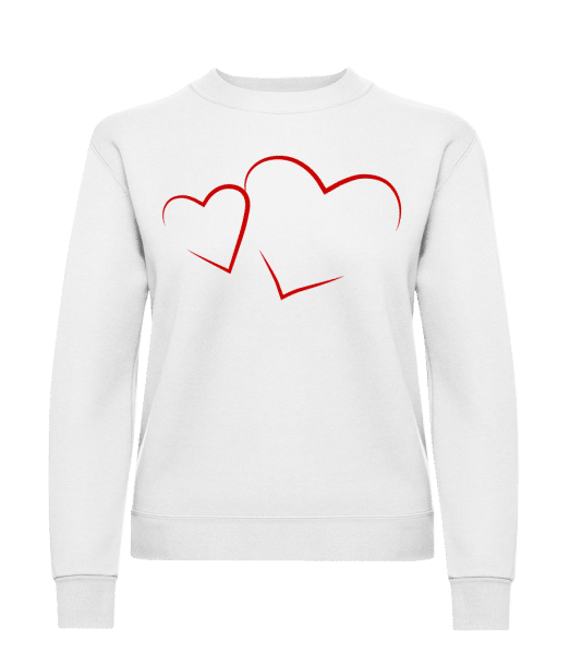 Hearts - Classic Ladies' Set-In Sweatshirt - White - Vorn