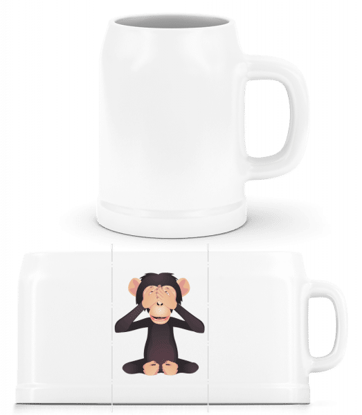 Blind Monkey - Beer Mug - White - Vorn