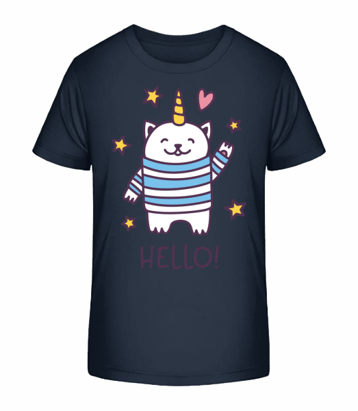 Hello Cat Unicorn - Kid's Premium Bio T-Shirt - Navy - Vorn