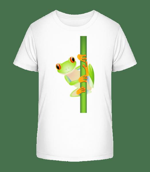 Frosch An Schilf - Kinder Premium Bio T-Shirt - Weiß - Vorn