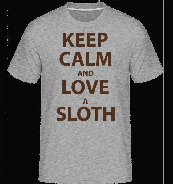 Keep Calm And Love A Sloth - Shirtinator Männer T-Shirt - Grau meliert - Vorn