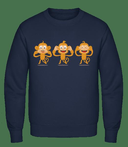 Blind Deaf Mute Monkey - Classic Set-In Sweatshirt - Navy - Vorn