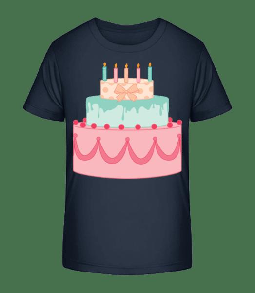Geburtstagskuchen - Kinder Premium Bio T-Shirt - Marine - Vorn