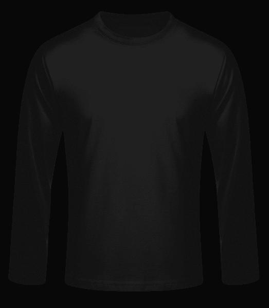 Pánske tričko s dlhým rukávom basic - Čierna - Predné