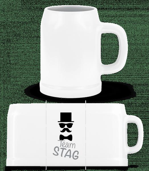 Team Stag - Mustache - Beer Mug - White - Vorn