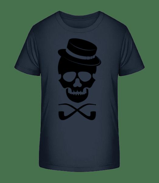 Skull With Hat - Kid's Premium Bio T-Shirt - Navy - Vorn