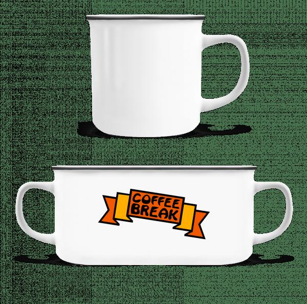 Coffee Break Logo - Enamel-cup - White - Vorn