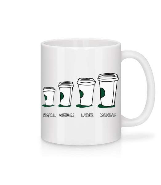 Coffee Small Medium Large Monday - Tasse - Weiß - Vorn