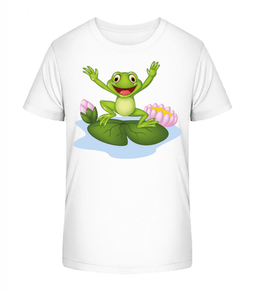 Žaba na lekno - Detské Premium Bio tričko - Biela - Predné