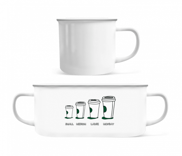 Coffee Small Medium Large Monday - Enamel-cup - White - Vorn
