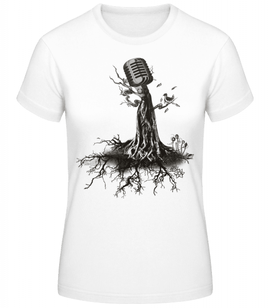 Microphone Tree - Women's Basic T-Shirt - White - Vorn