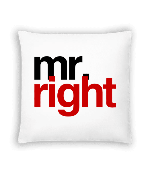 Mr. Right Logo - Cushion - White - Vorn