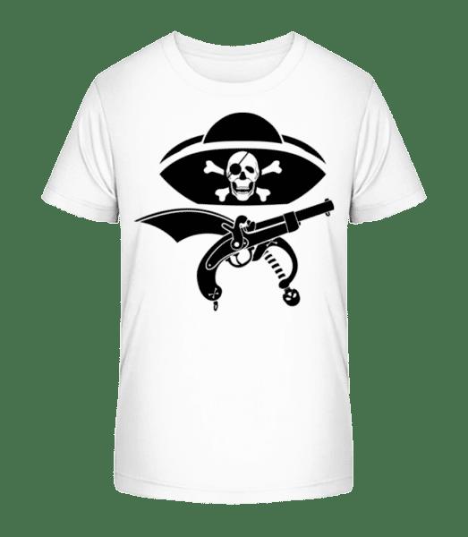 Pirate Symbol Black - Kid's Premium Bio T-Shirt - White - Vorn