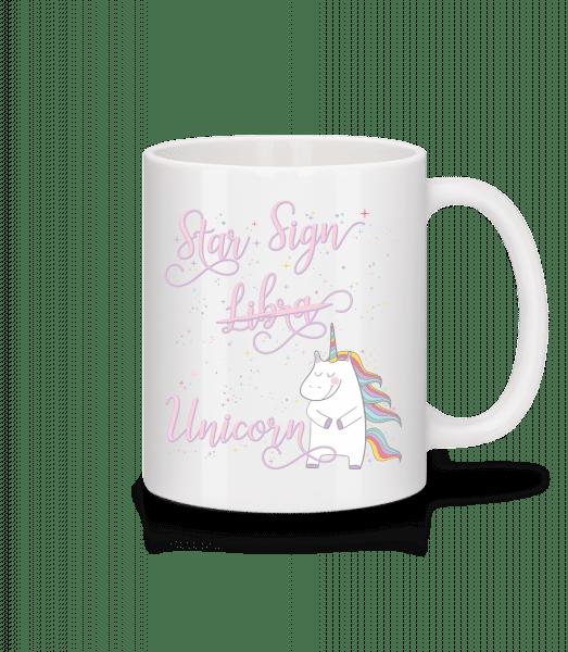 Hviezdne znamenia Váhy Unicorn - Keramický hrnček - Biela - Predné