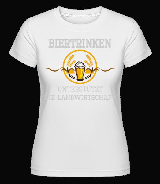 Bier Trinken - Shirtinator Frauen T-Shirt - Weiß - Vorn