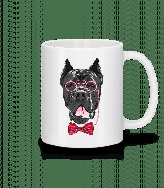 Pes s okuliarmi - Keramický hrnček - Biela - Predné