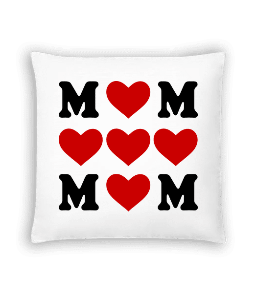 Love Mom Hearts - Cushion - White - Vorn