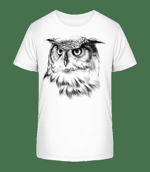 Eule Realistisch - Kinder Premium Bio T-Shirt - Weiß - Vorn