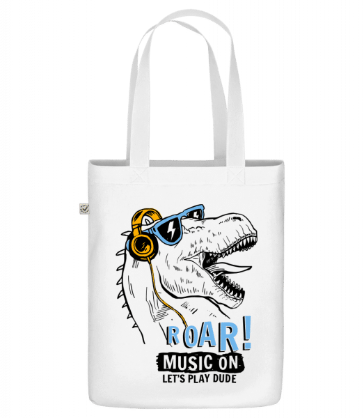 "Music On Dino - Organic ""Earth Positive"" tote bag - White - Vorn"