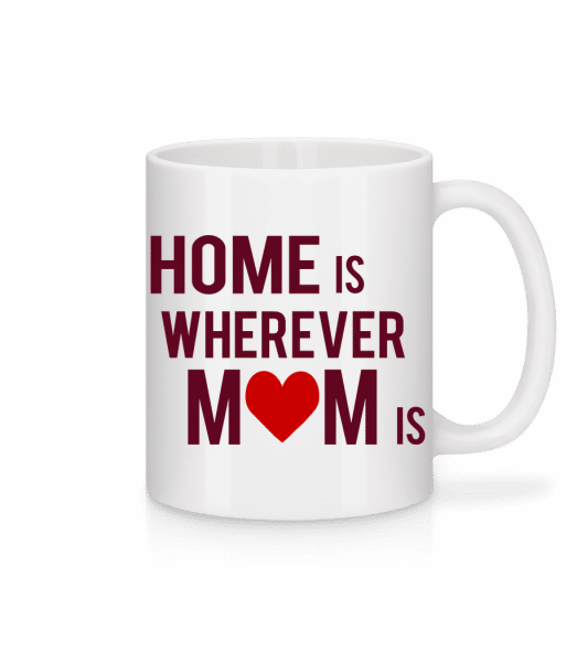 Home Is Kdekoľvek mama - Keramický hrnček - Biela - Predné