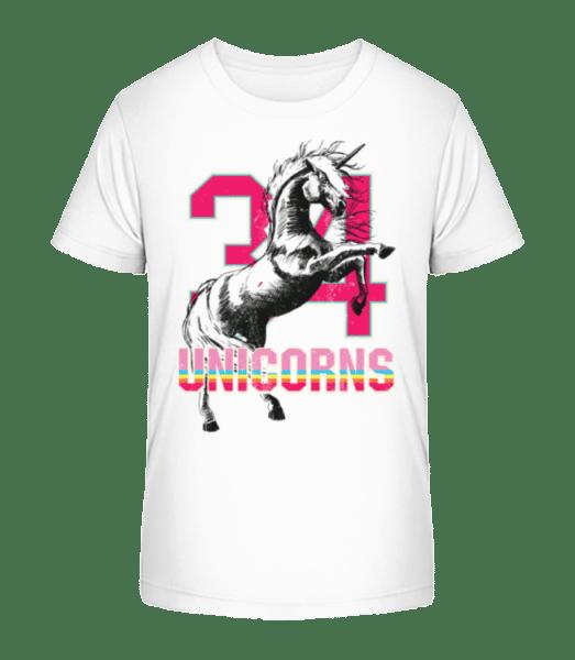 34 Unicorns - Kid's Premium Bio T-Shirt - White - Front