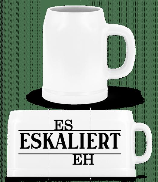 Eskaliert eh - Bierkrug - Weiß - Vorn